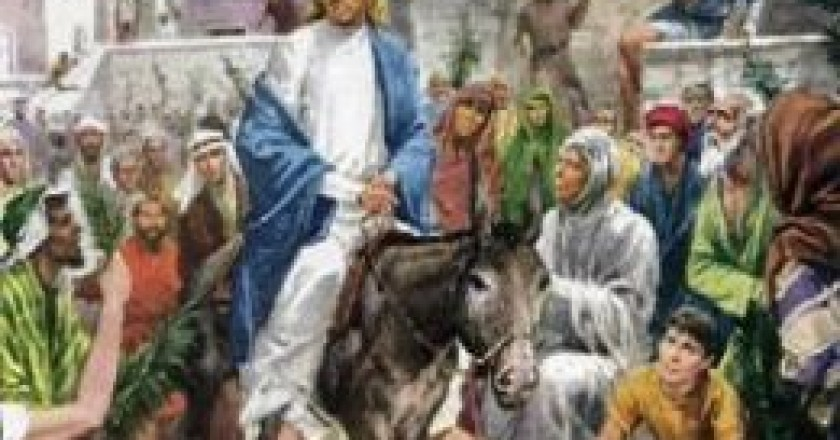 Jesus rides in on Palm Sunday