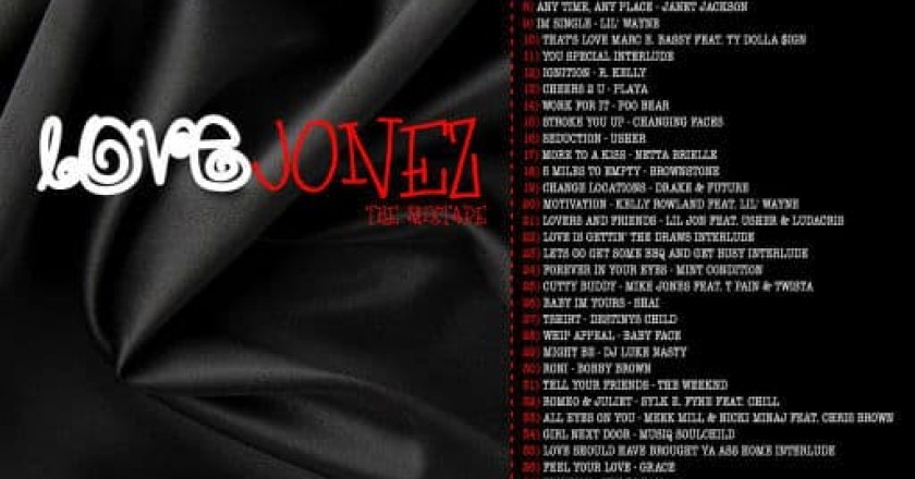 Track listing for Lexx Jonez: Love Jonez Mixtape