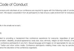 Screenshot of confcodeofconduct.com/