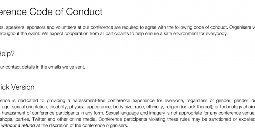 Screenshot of confcodeofconduct.com/