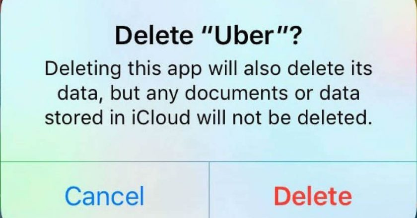 Delete confirmation of Uber app on iOS